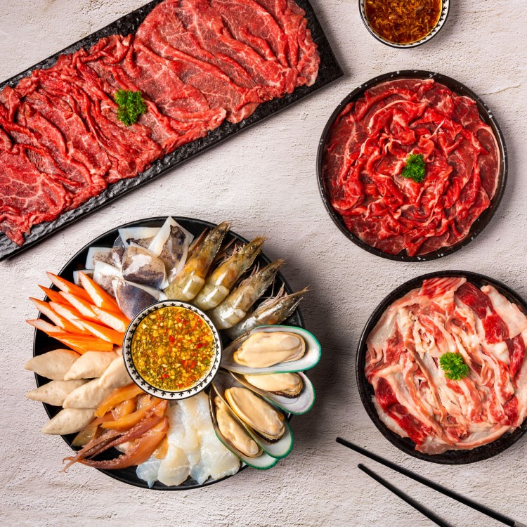 Grilled Beef with Seafood